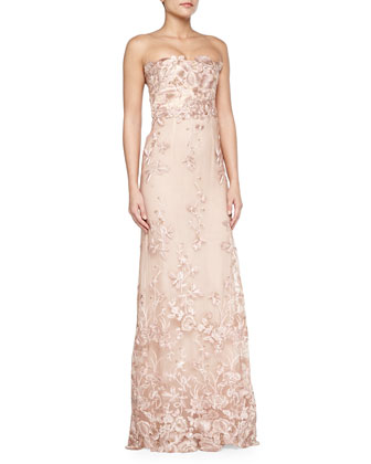 Strapless Floral Applique Gown