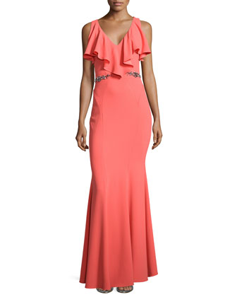 Faviana Belted Mermaid Gown
