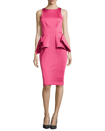Adonia Sleeveless Satin Peplum Dress
