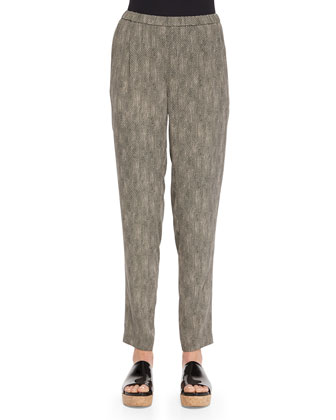 Silk Chainette-Print Slouchy Pants, Petite