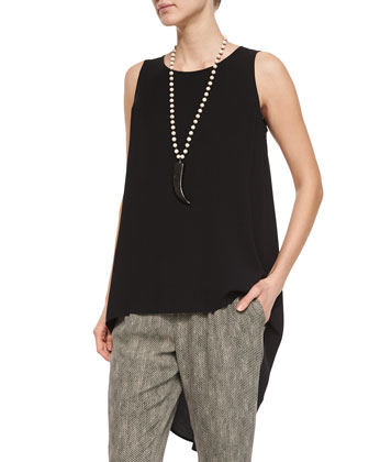 Sleeveless High-Low Silk Crepe Tunic