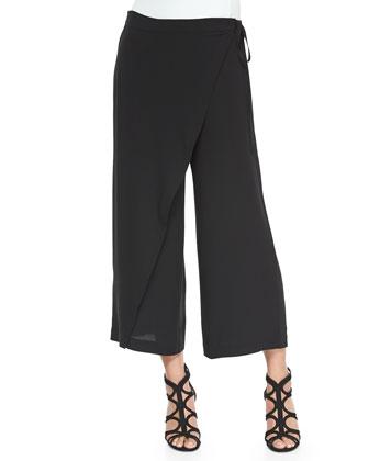 3/4-Sleeve Eyelet-Trim Top & Karate Cropped Silk Pants