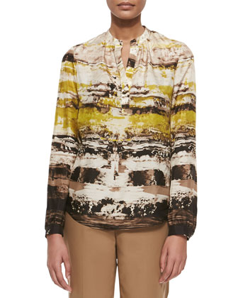 Sharla Long-Sleeve Printed Blouse