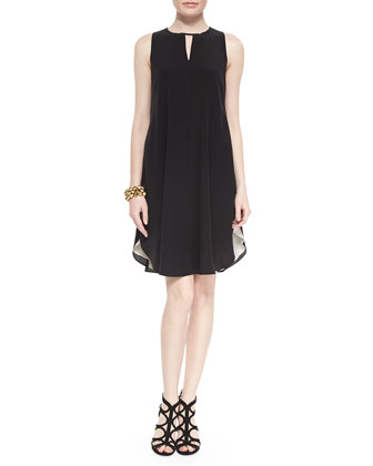 Sleeveless Double-Layer Silk Dress, Petite