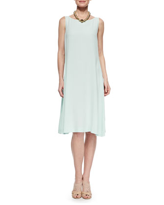 Long Angled Linen-Blend Cardigan & Sleeveless Georgette Shift Dress