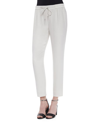 Satin Drawstring Harem Ankle Pants, Bone