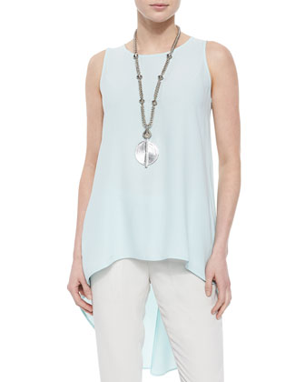 Sleeveless High-Low Silk Crepe Tunic, Women's