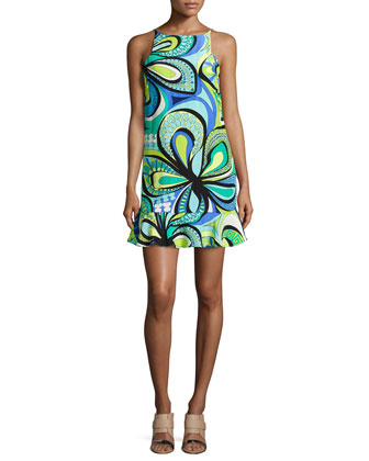 Cece Sleeveless Retro-Inspired Print Dress