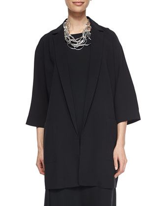 Notch-Collar Long Boxy Jacket & Sleeveless Georgette Shift Dress