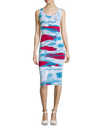 Ida Sleeveless Body-Conscious Printed Dress