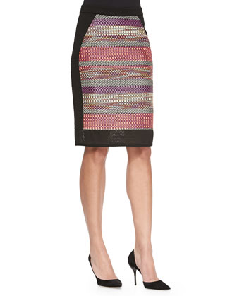 Woven Striped Pencil Skirt