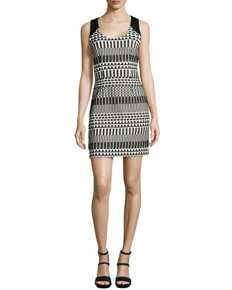 Sleeveless Graphic Jacquard Dress