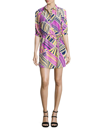 Liv Printed Tie-Waist Shirtdress