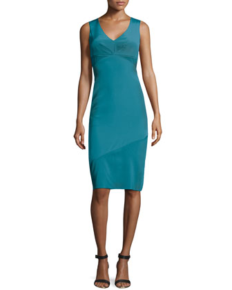 Sleeveless Crepe V-Neck Sheath Dress