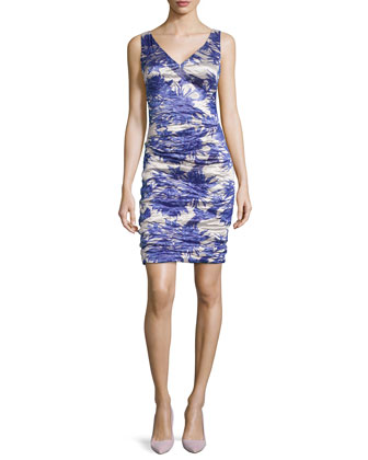 Sleeveless Floral-Print Bonded Ruched Dress