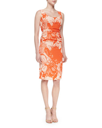 Printed Sheath Dress with Ruching and Cutout Back