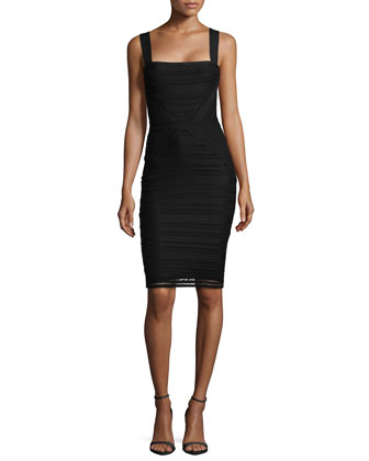 Square-Neck Lace Sheath Dress