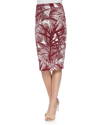 Aisling Palm-Print Pencil Skirt