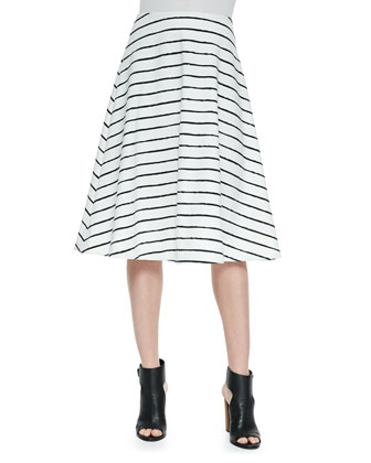 Jayren Boat-Neck Crop Top & Akemi Striped A-Line Skirt