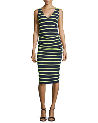 Sleeveless Striped Ruched Dress