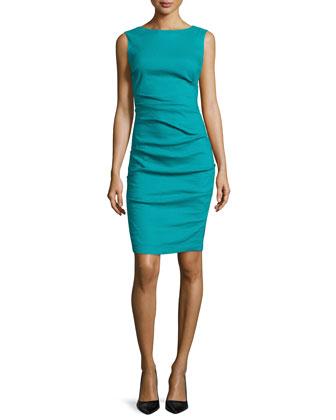 Sleeveless Ruched Linen-Blend Dress, Aquamarine