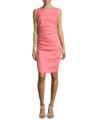 Sleeveless Ruched Linen-Blend Dress, Flamingo