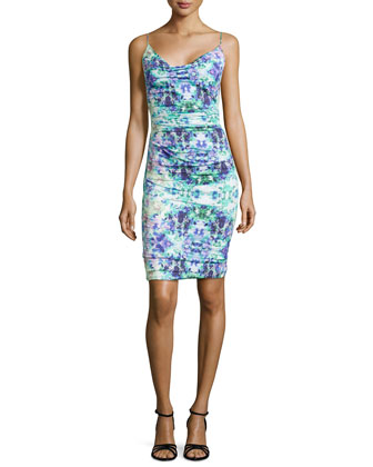 Sleeveless Ruched Water Lily Print Dress