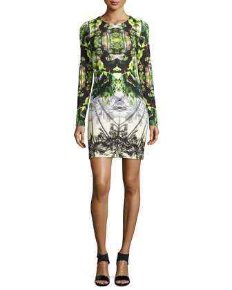 Long-Sleeve Printed Neoprene Dress