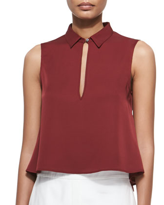 Kenzly Slit-Front Sleeveless Blouse & Thaniel Cropped Slim Twill Pants