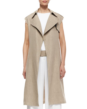 Jiliya Long Linen Vest & Atle Sleeveless Crepe Dress