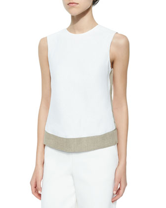 Mowita Flax-Trim Crepe Top