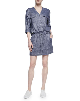 Trisal Drawstring-Waist Chambray Dress