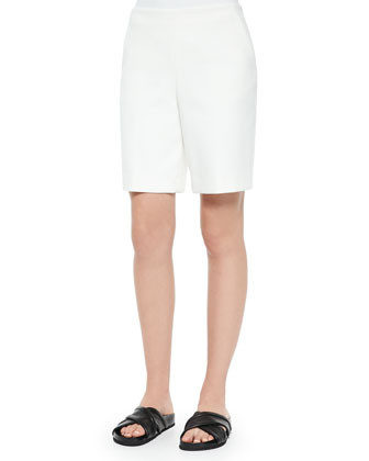 Mowita Flax-Trim Crepe Top & Palanis Smooth-Front Bermuda Shorts