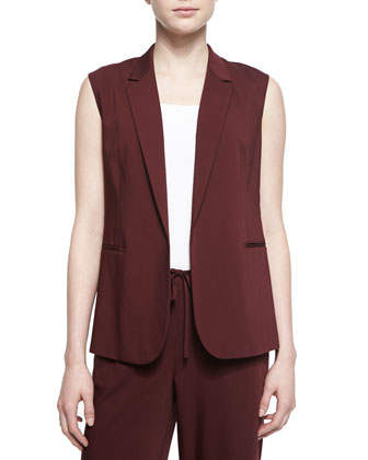 Adar Open-Front Suiting Vest & Sprinza Wide-Leg Cropped Pants