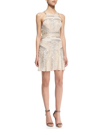 Leona Sleeveless Halter Sequined Cocktail Dress