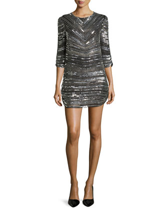 Petra 3/4-Sleeve Sequin-Striped Dress