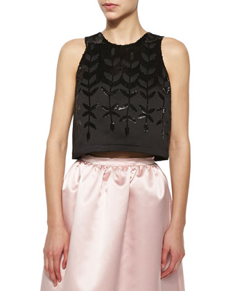 Karmina Embellished Sleeveless Crop Top