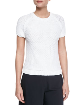 Dontalyn Knit Short-Sleeve Sweater & Grega Cropped Wide-Leg Pants