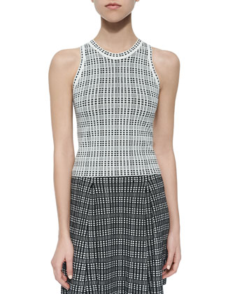 Godelana Plaid Knit Sleeveless Top