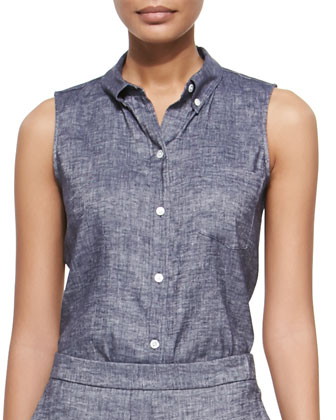 Nieto Tie-Waist Trench Vest, Yarine Sleeveless Chambray Top & Onark Pleated ...