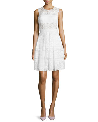 Mixed-Lace Sleeveless Cocktail Dress, Chalk