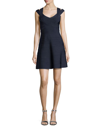 Valerie Signature Crisscross-Shoulder Dress, Indigo