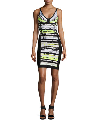 Rachael Paneled Ripple-Striped Dress, Electric Lime