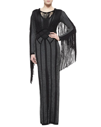 Lotus Fringe-Trimmed Chevron Dress