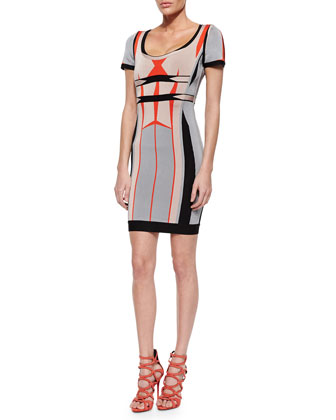 Gabi Short-Sleeve Printed Sheath Dress