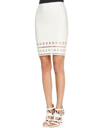Striped Cutout Bandage Skirt, Alabaster