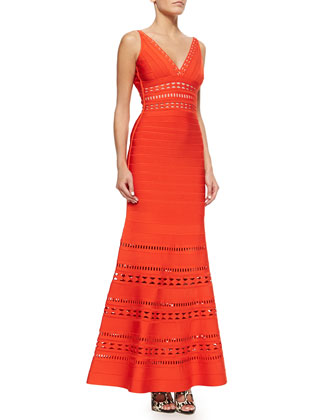 Kaiya Cutout Bandage Mermaid Gown, Vermillion