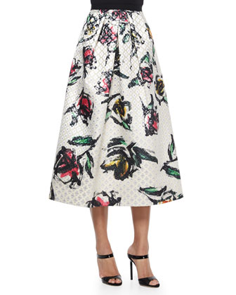 Phoebe Sweetheart Neck Beaded Crop Top & Floral-Print Jacquard Tea-Length Skirt