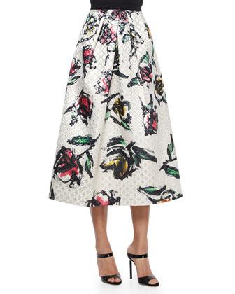 Floral-Print Jacquard Tea-Length Skirt