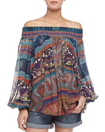 Off-the-Shoulder Printed Peasant Blouse